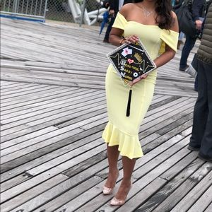 Prettylittlething pastel yellow off shoulder dress